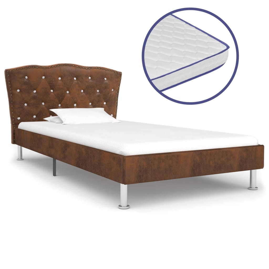 vidaXL Κρεβάτι Καφέ 90 x 200 εκ. Υφασμάτινο με Στρώμα Αφρού Μνήμης