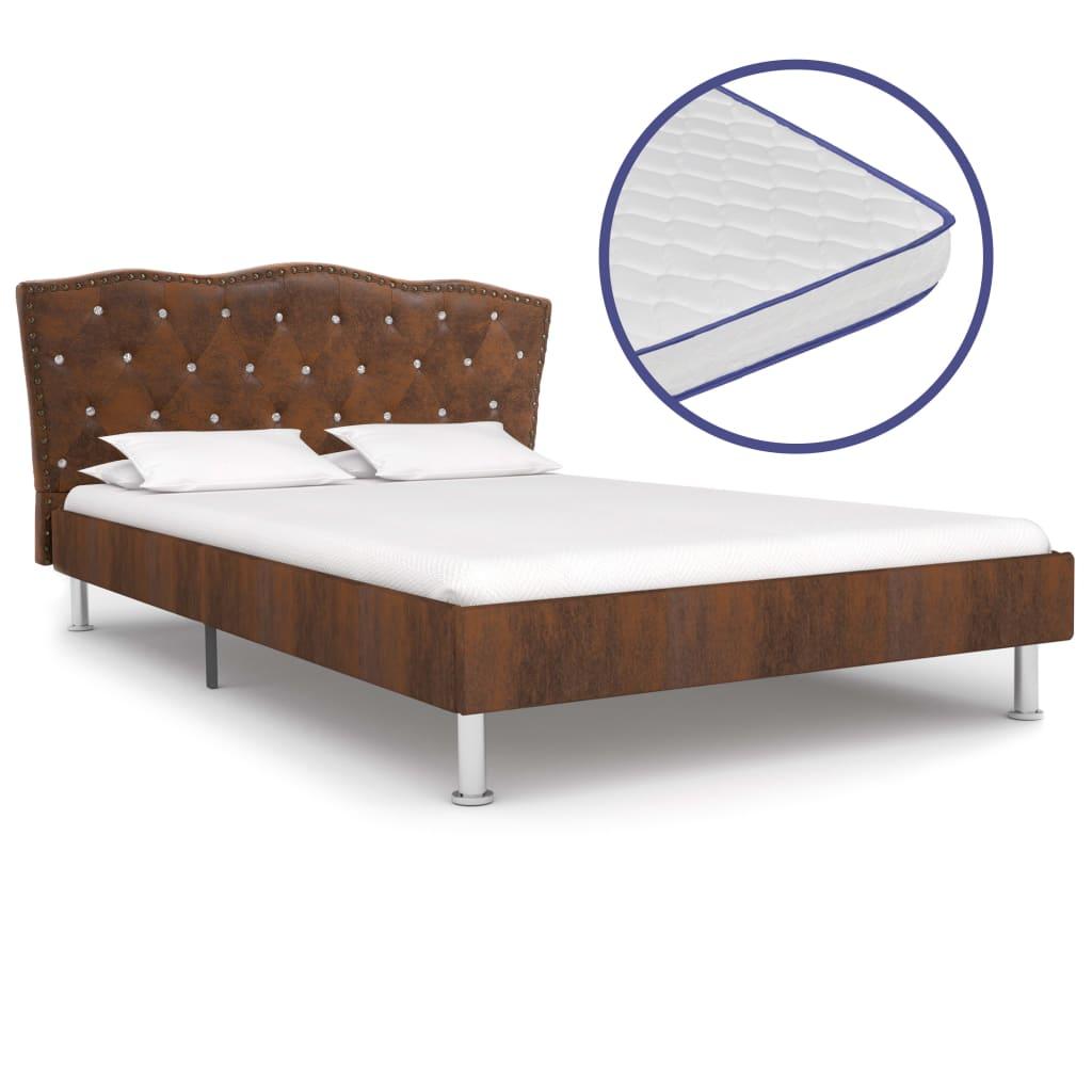 vidaXL Κρεβάτι Καφέ 120 x 200 εκ. Υφασμάτινο με Στρώμα Αφρού Μνήμης