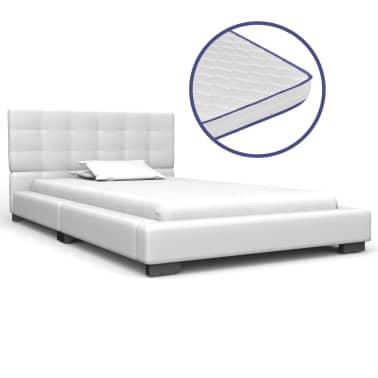 Traagschuim Matras 90 X 200.Vidaxl Bed Met Traagschuim Matras Kunstleer Wit 90x200 Cm