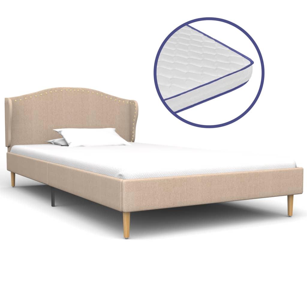 vidaXL Κρεβάτι Μπεζ 90 x 200 εκ. Υφασμάτινο με Στρώμα Αφρού Μνήμης