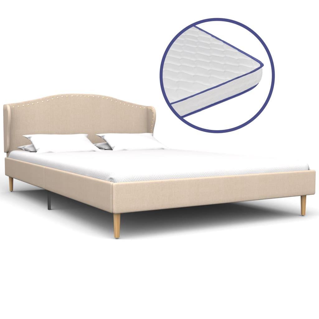 vidaXL Κρεβάτι Μπεζ 120 x 200 εκ. Υφασμάτινο με Στρώμα Αφρού Μνήμης