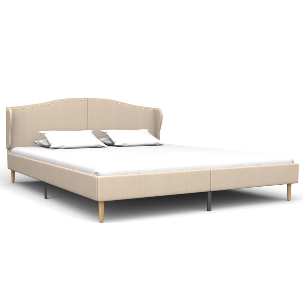 vidaXL Bed met traagschuim matras stof beige 160x200 cm