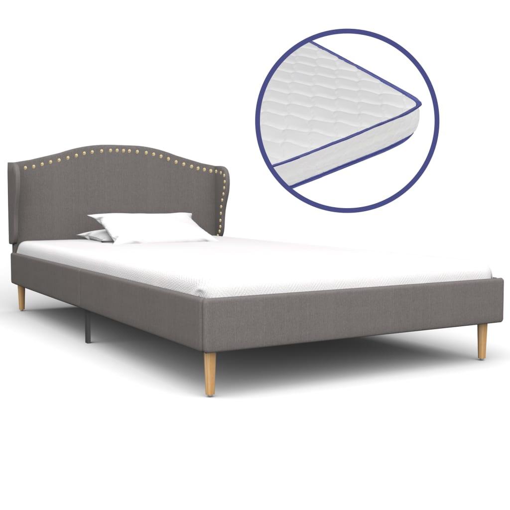 vidaXL Κρεβάτι Ανοιχτό Γκρι 90×200 εκ Υφασμάτινο + Στρώμα Αφρού Μνήμης
