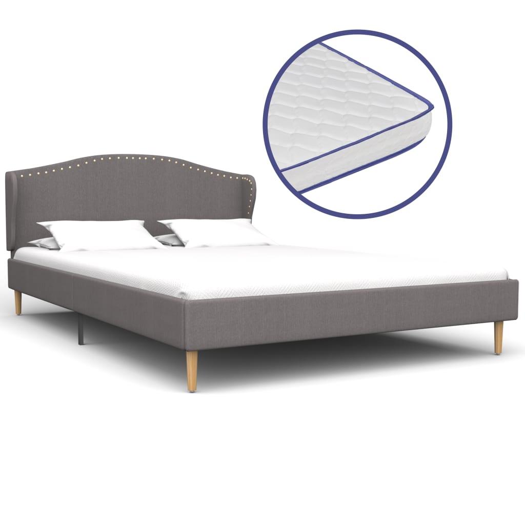 vidaXL Κρεβάτι Ανοιχτό Γκρι 140×200 εκ. Ύφασμα + Στρώμα Αφρού Μνήμης