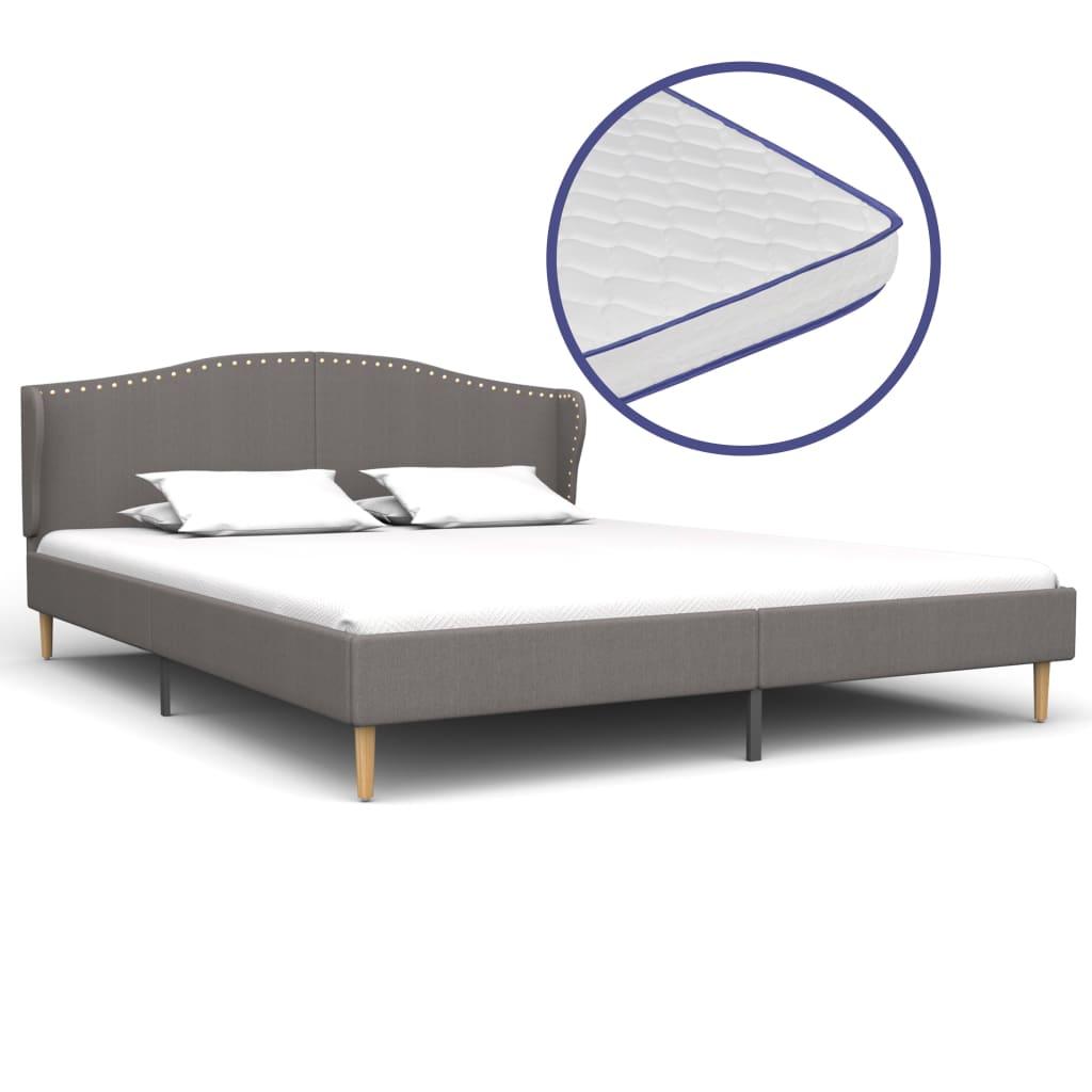vidaXL Κρεβάτι Ανοιχτό Γκρι 180×200 εκ. Ύφασμα + Στρώμα Αφρού Μνήμης