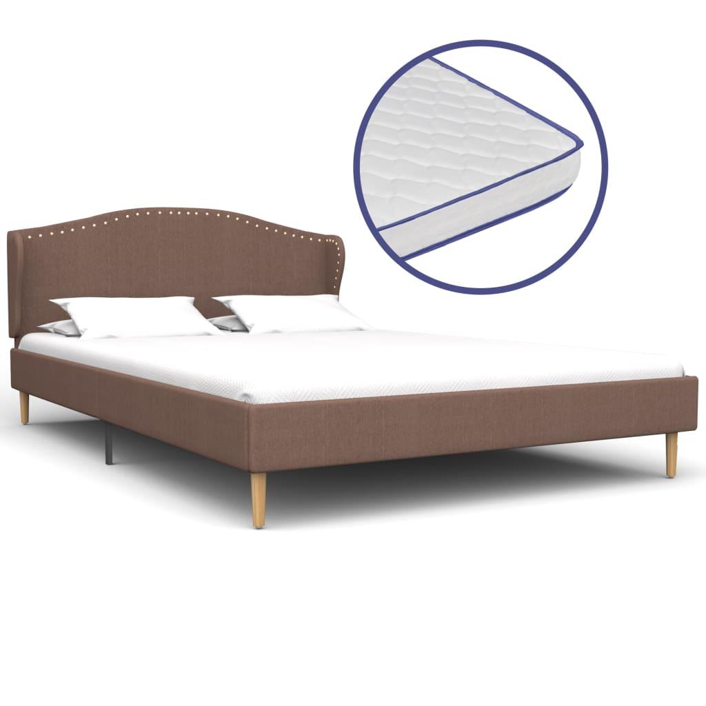 vidaXL Κρεβάτι Καφέ 140 x 200 εκ. Υφασμάτινο με Στρώμα Αφρού Μνήμης