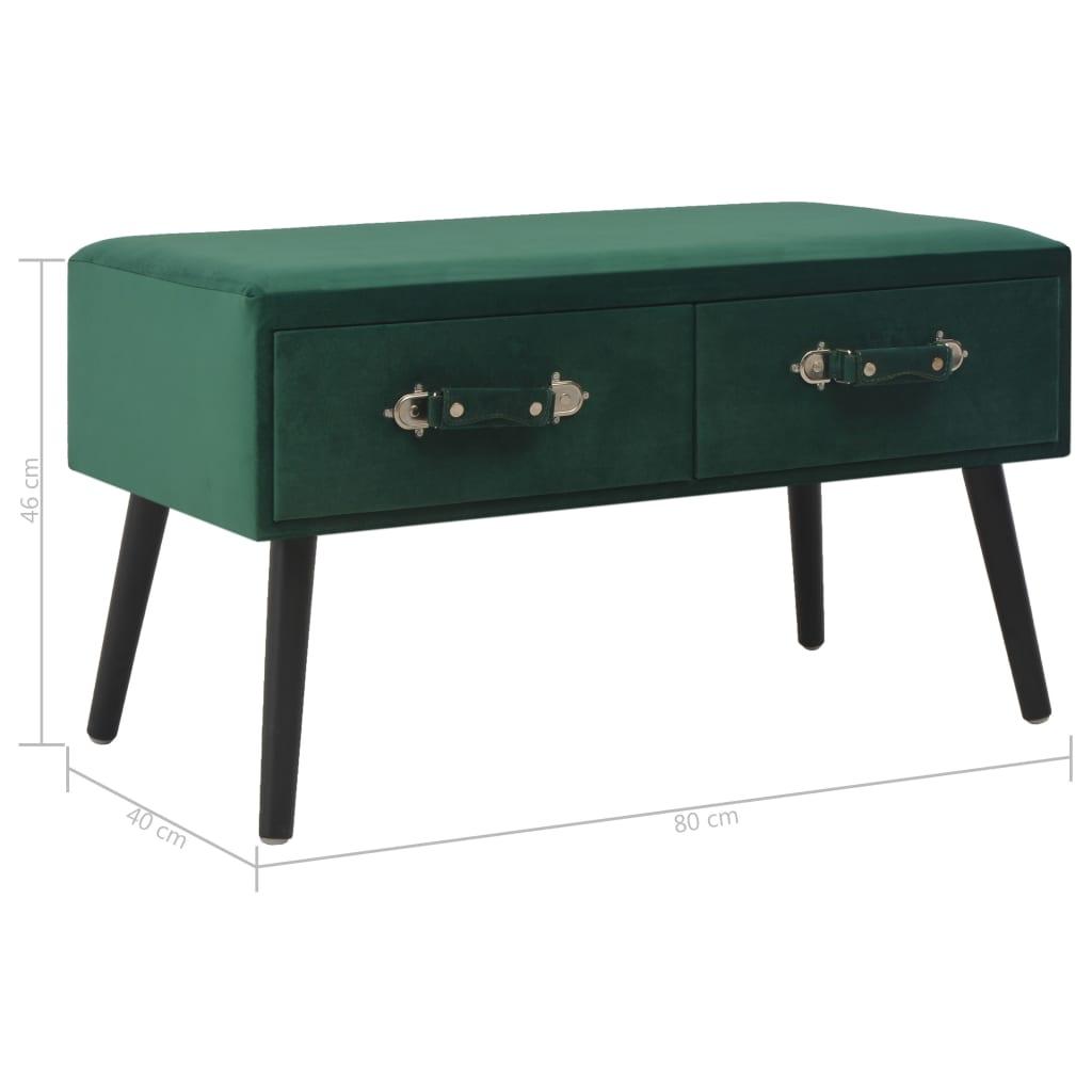 Bank met lades 80 cm fluweel groen