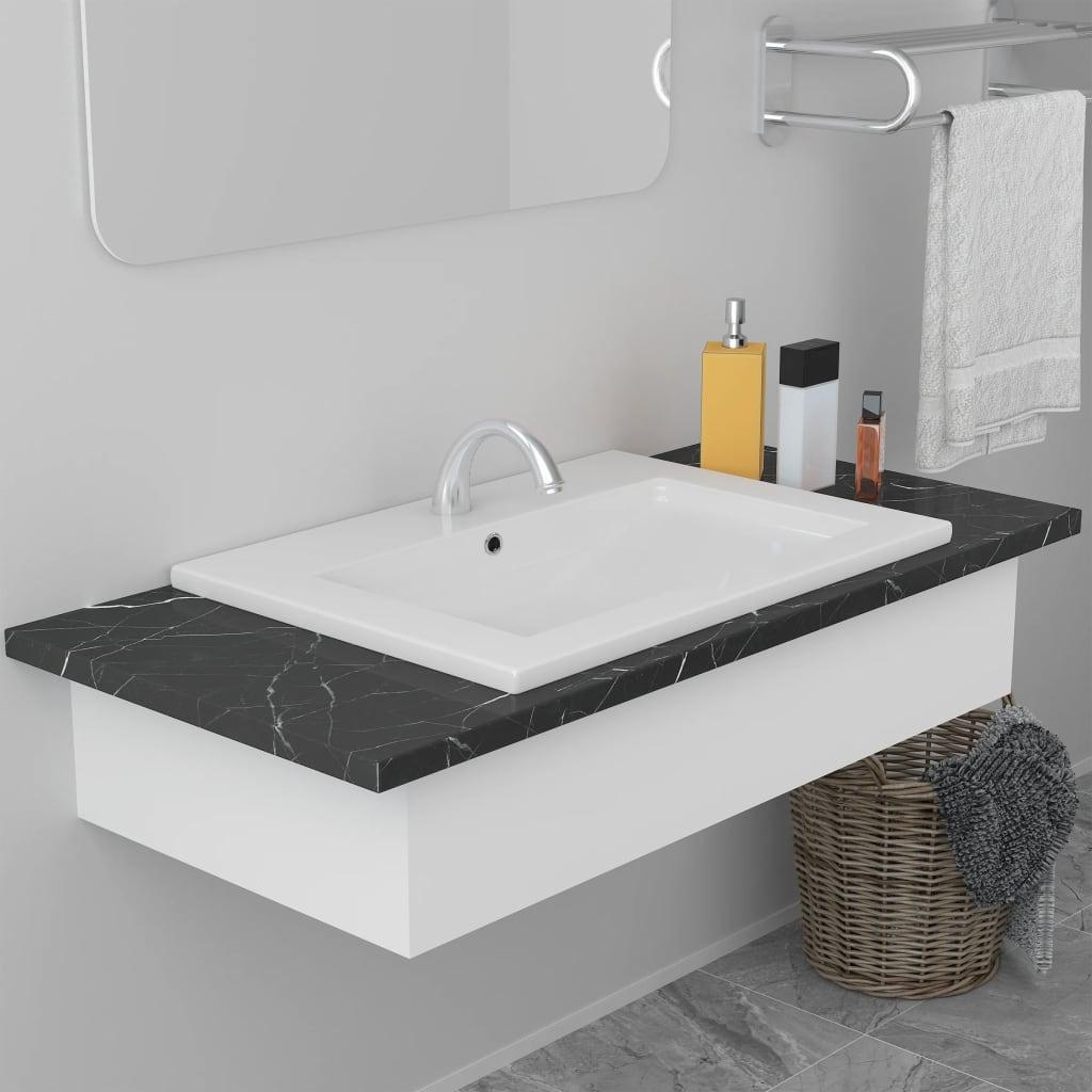 vidaXL Chiuvetă încorporată, alb, 61 x 39,5 x 18,5 cm, ceramică poza vidaxl.ro