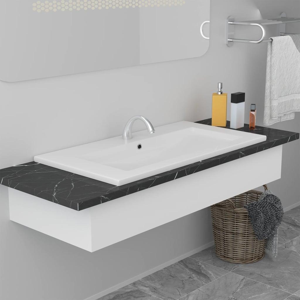 vidaXL Chiuvetă încorporată, alb, 81 x 39,5 x 18,5 cm, ceramică vidaxl.ro