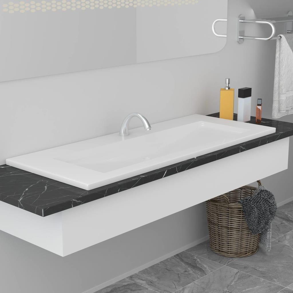 vidaXL Chiuvetă încorporată, alb, 101 x 39,5 x 18,5 cm, ceramică vidaxl.ro