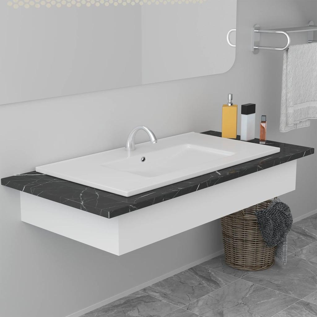vidaXL Chiuvetă încorporată, alb, 80,5 x 46,3 x 17,5 cm, ceramică vidaxl.ro
