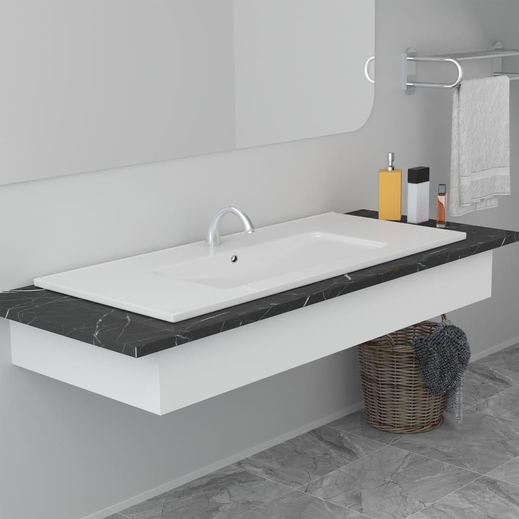vidaXL Chiuvetă încorporată, alb, 100,5 x 46,3 x 17,5 cm, ceramică poza vidaxl.ro