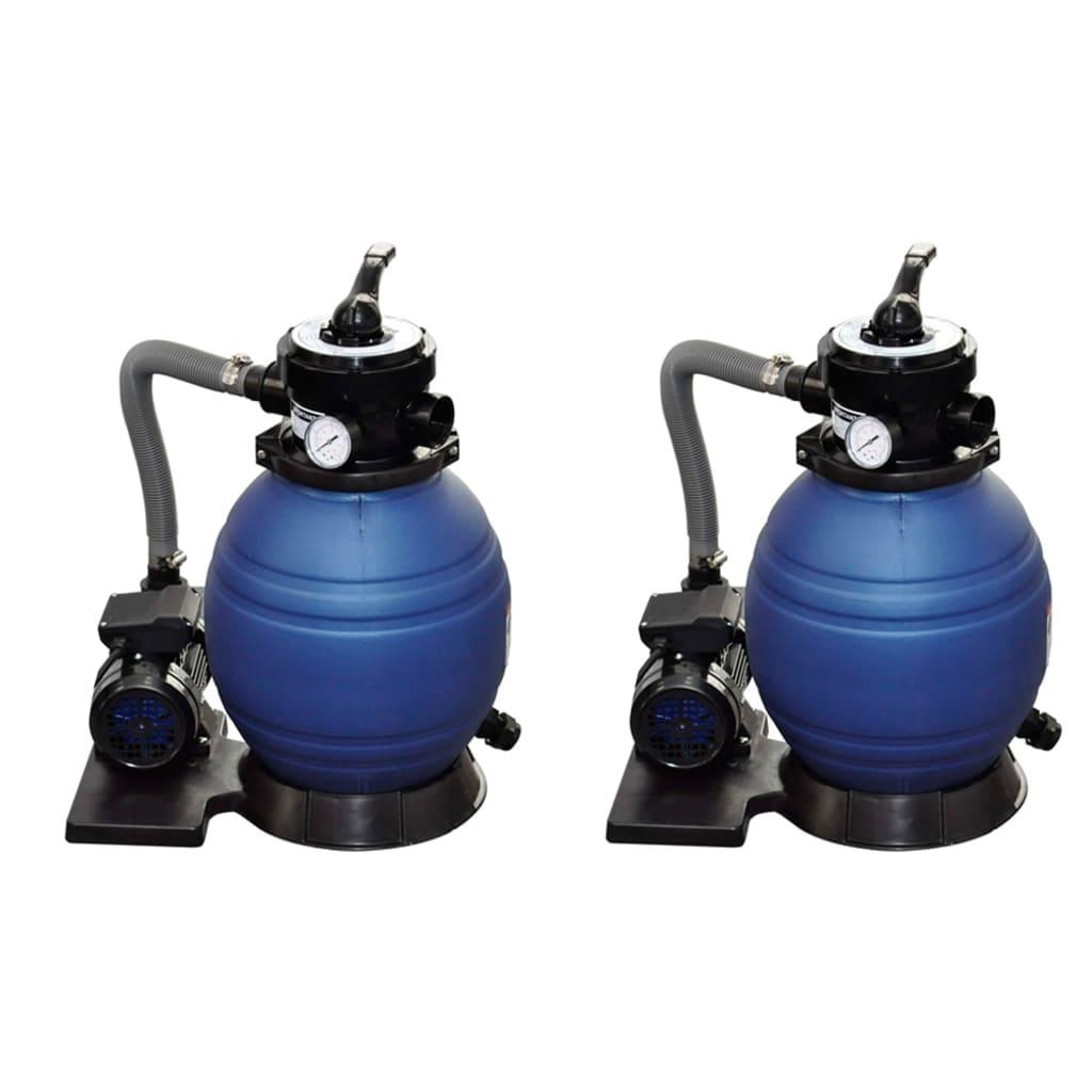 vidaXL Pompe filtru cu nisip, 2 buc., 400 W, 11000 l/h poza vidaxl.ro