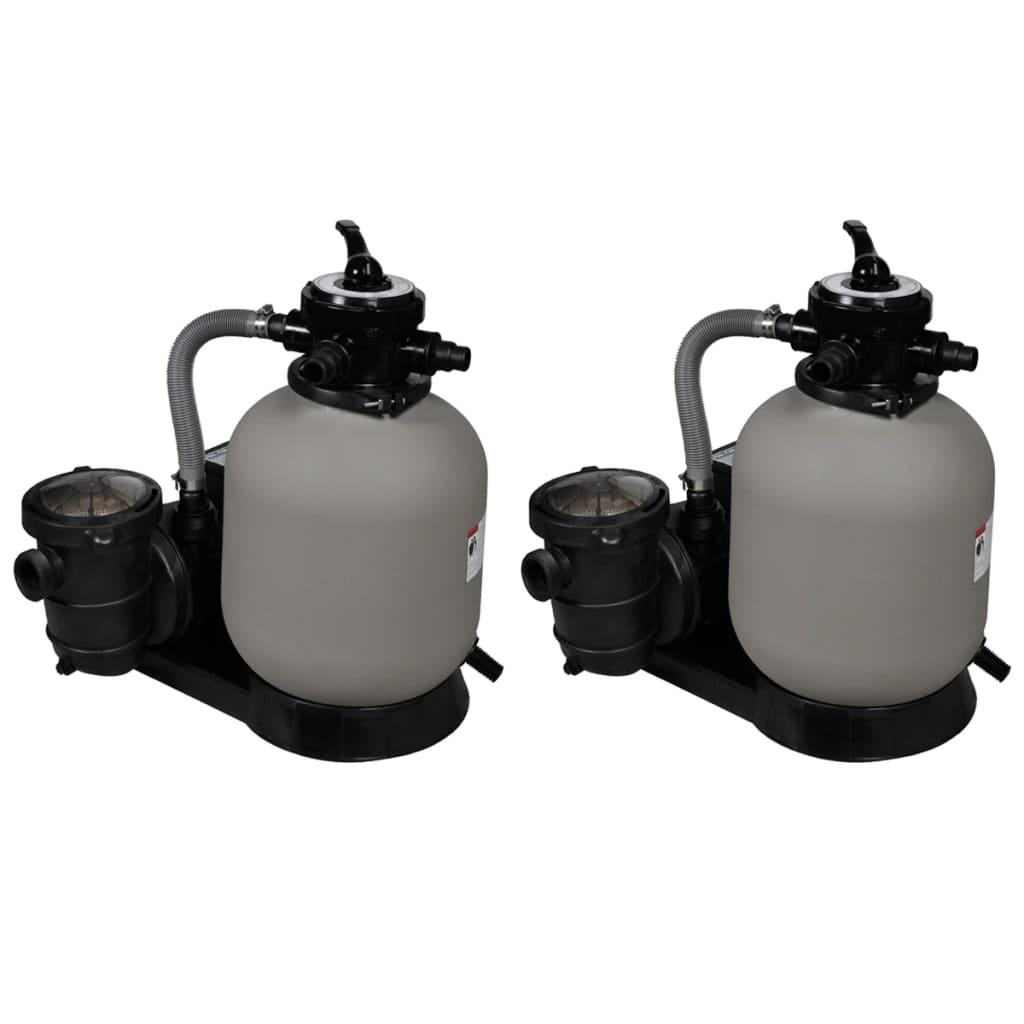 vidaXL Pompe filtru cu nisip, 2 buc., 600 W, 17000 l/h poza vidaxl.ro