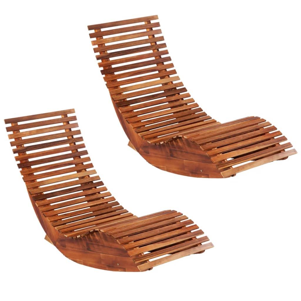 vidaXL Șezlonguri balansoar de plajă, 2 buc., lemn masiv de acacia imagine vidaxl.ro