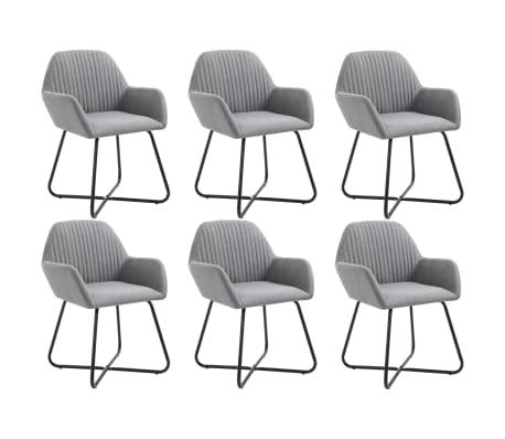 vidaXL Dining Chairs 6 pcs Light Gray Fabric