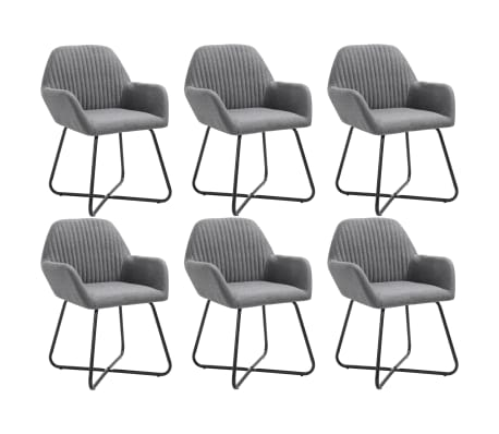 vidaXL Dining Chairs 6 pcs Dark Gray Fabric