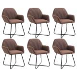 vidaXL Valgomojo kėdės, 6 vnt., rudos, audinys (3x249810)