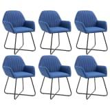 vidaXL Valgomojo kėdės, 6 vnt., mėlynos, audinys (3x249811)