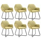 vidaXL Valgomojo kėdės, 6 vnt., žalios, audinys (3x249812)