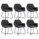 vidaXL Valgomojo kėdės, 6 vnt., juodos, audinys (3x249813)