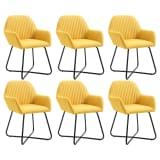 vidaXL Valgomojo kėdės, 6 vnt., geltonos, audinys (3x249814)