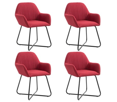 vidaXL Dining Chairs 4 pcs Wine Red Fabric