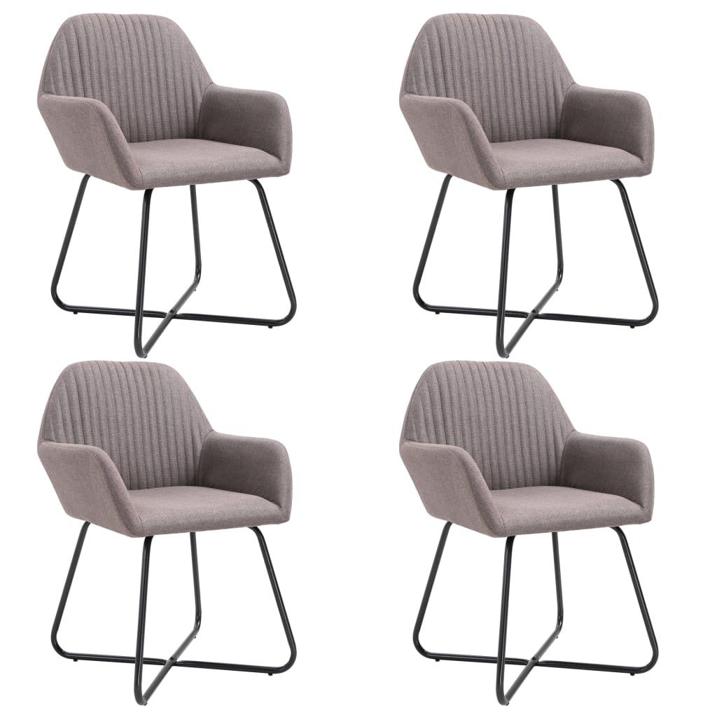 vidaXL Καρέκλες Τραπεζαρίας 4 τεμ. Χρώμα Taupe Υφασμάτινες