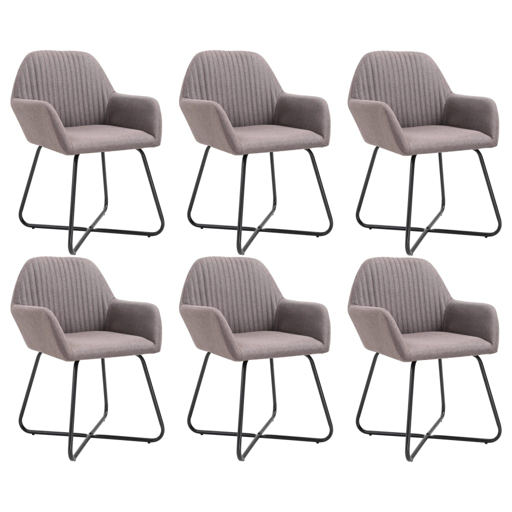 vidaXL Καρέκλες Τραπεζαρίας 6 τεμ. Χρώμα Taupe Υφασμάτινες