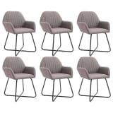 vidaXL Valgomojo kėdės, 6 vnt., taupe sp., audinys (3x249816)