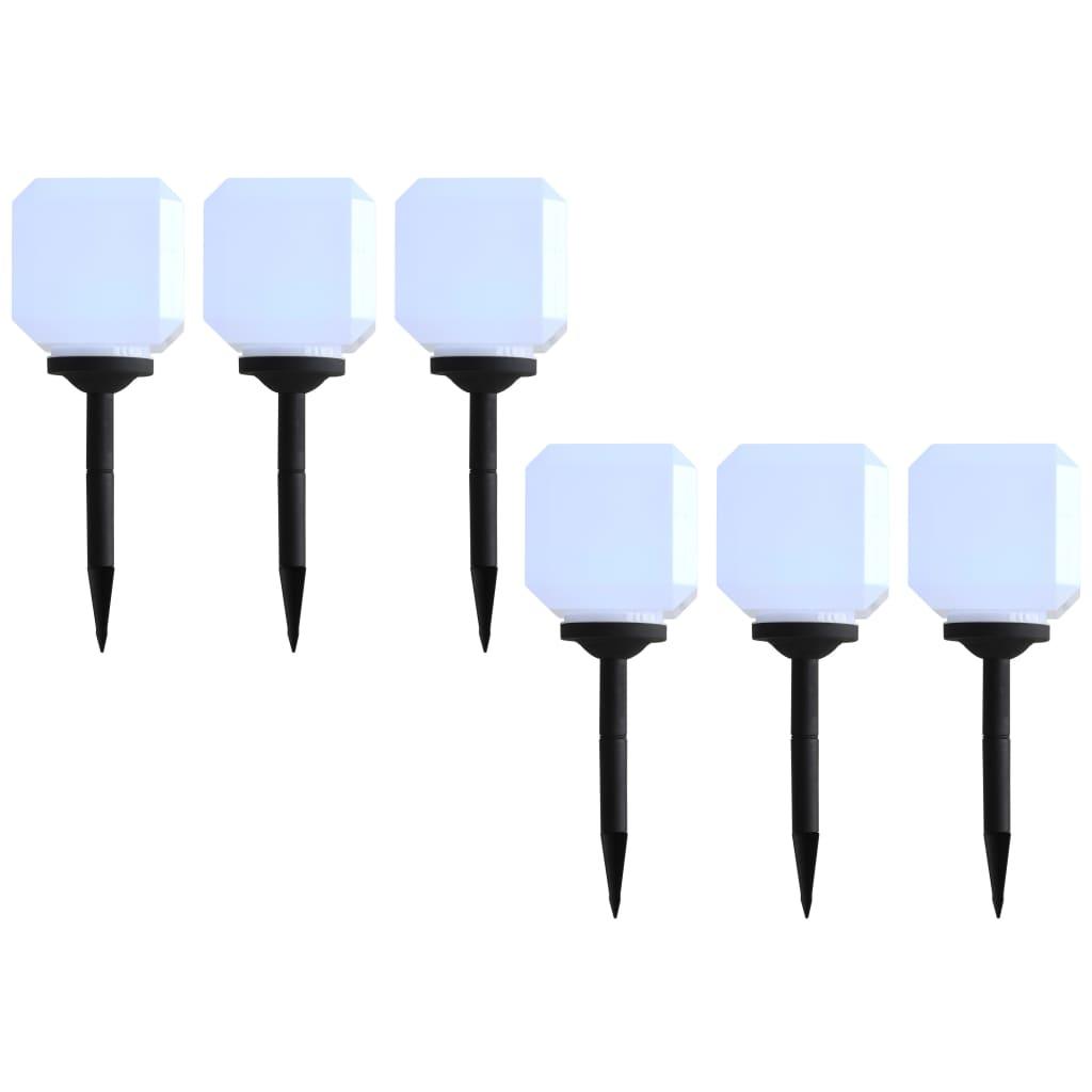 vidaXL Lămpi solare de exterior cu LED, 6 buc., alb, 20 cm, cub vidaxl.ro