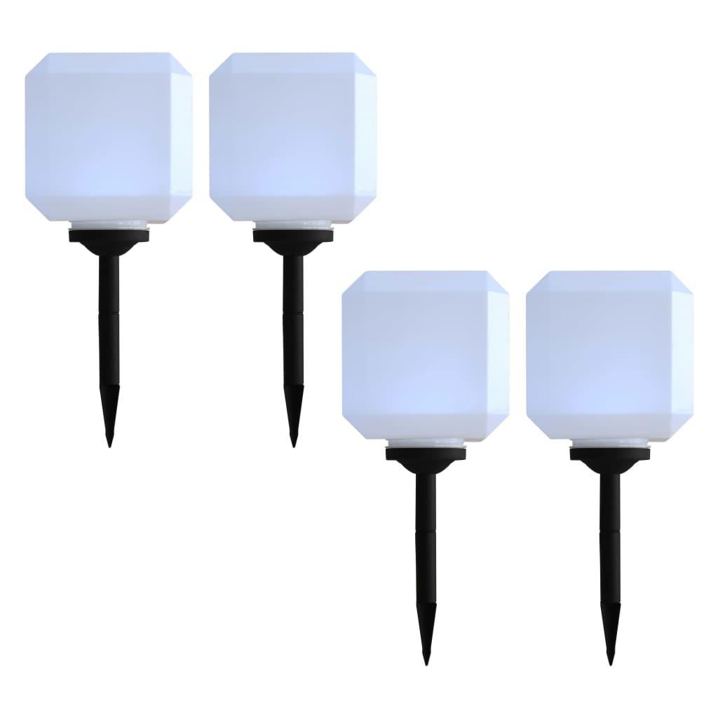vidaXL Zahradní solární lampy 4 ks LED krychlové 20 cm bílé