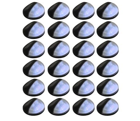 vidaXL Vonkajšie solárne nástenné LED svietidlá 24 ks okrúhle čierne[1/8]