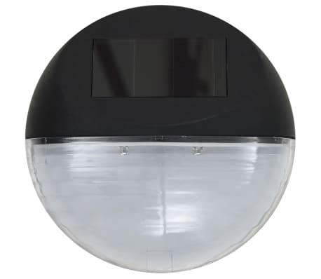vidaXL Vonkajšie solárne nástenné LED svietidlá 24 ks okrúhle čierne[5/8]