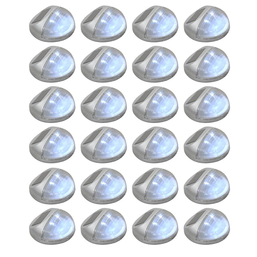 vidaXL Lămpi solare de perete exterior 24 buc. argintiu rotund LED imagine vidaxl.ro