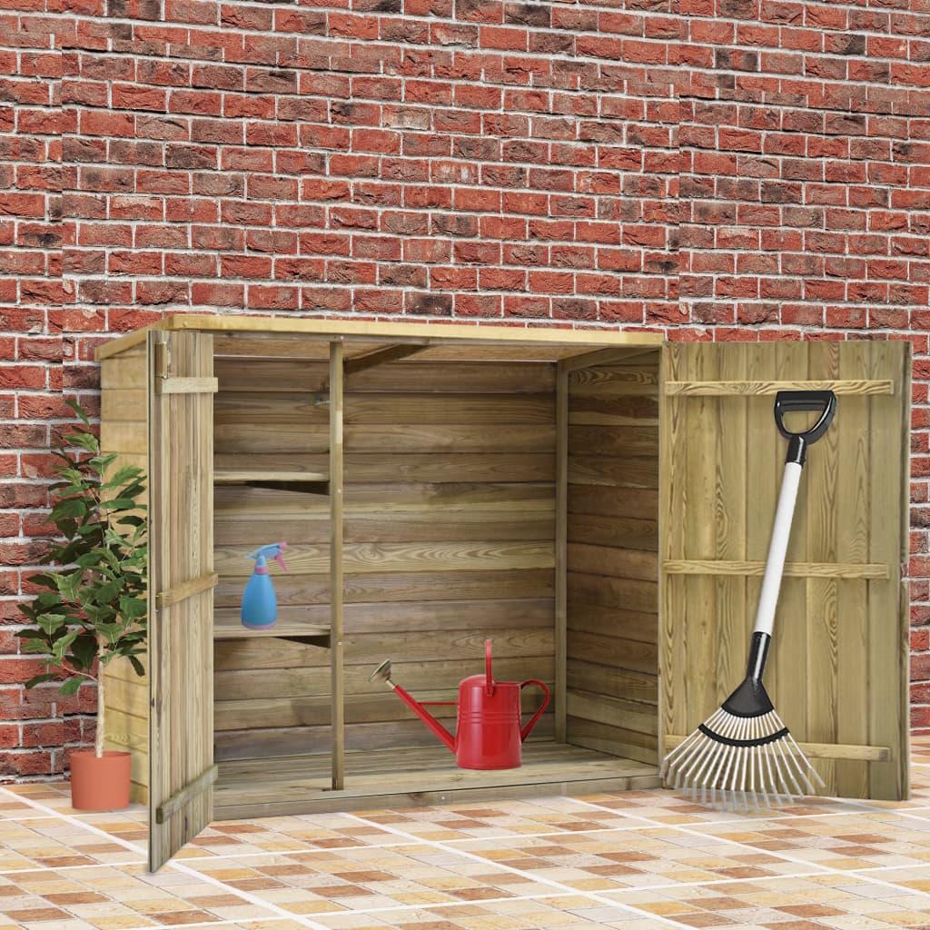vidaXL Magazie unelte de grădină, 135x60x123 cm, lemn pin tratat poza vidaxl.ro