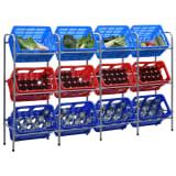 vidaXL Storage Shelf for 12 Crates Silver 190x33x116 cm Steel