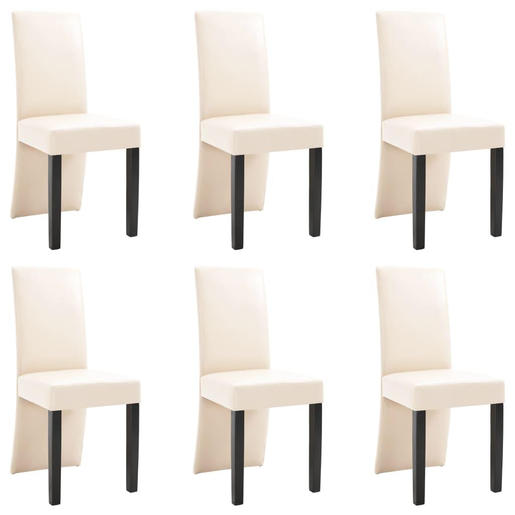 vidaXL Καρέκλες Τραπεζαρίας 6 τεμ. Κρεμ από Συνθετικό Δέρμα