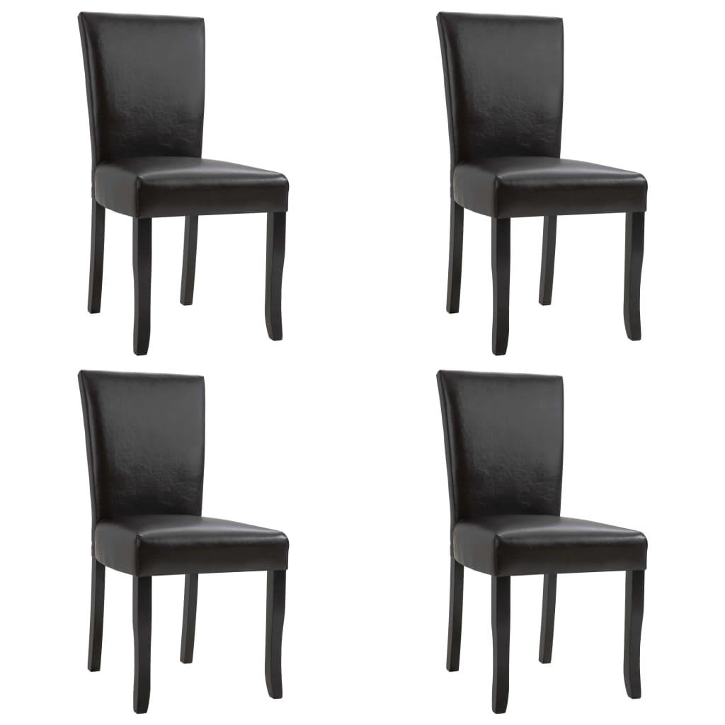 vidaXL spisebordsstole 4 stk. kunstlæder mørkebrun