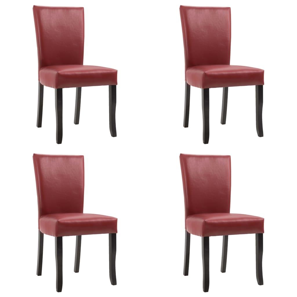 vidaXL Καρέκλες Τραπεζαρίας 4 τεμ. Μπορντό από Συνθετικό Δέρμα