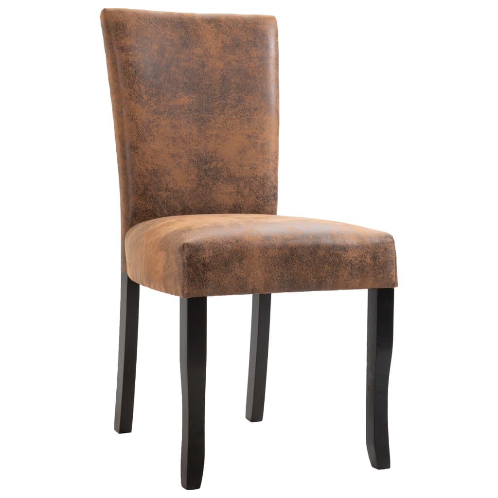 vidaXL Eetkamerstoelen 4 st kunstsuède bruin