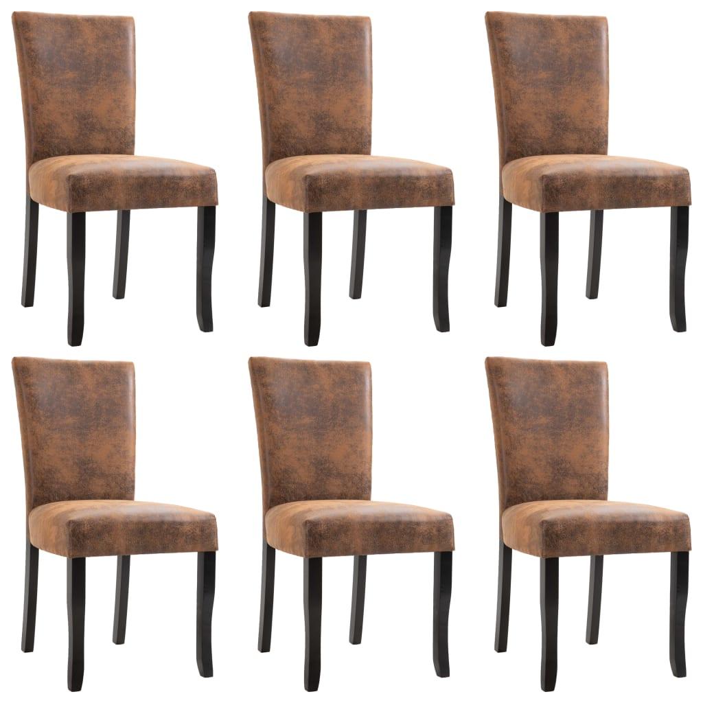 vidaXL Krzesła jadalniane, 6 szt., brązowe, sztuczna skóra zamszowa