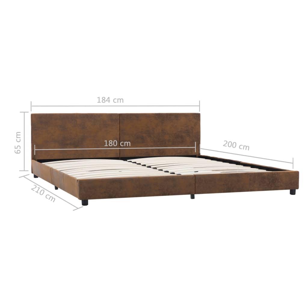 vidaXL Bedframe kunstsuède bruin 180x200 cm