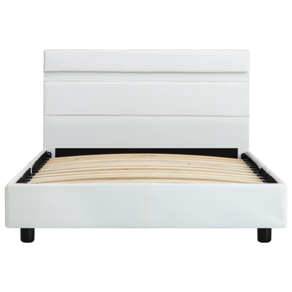 vidaXL Bedframe met LED kunstleer wit 100x200 cm
