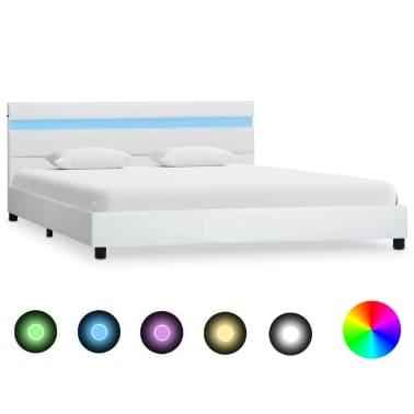vidaXL Cadre de lit avec LED Blanc Similicuir 140 x 200 cm[1/9]