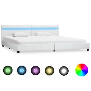 vidaXL Cadre de lit avec LED Blanc Similicuir 180 x 200 cm[1/9]