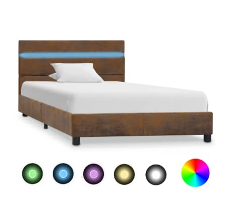 vidaXL Bedframe met LED stof bruin 90x200 cm