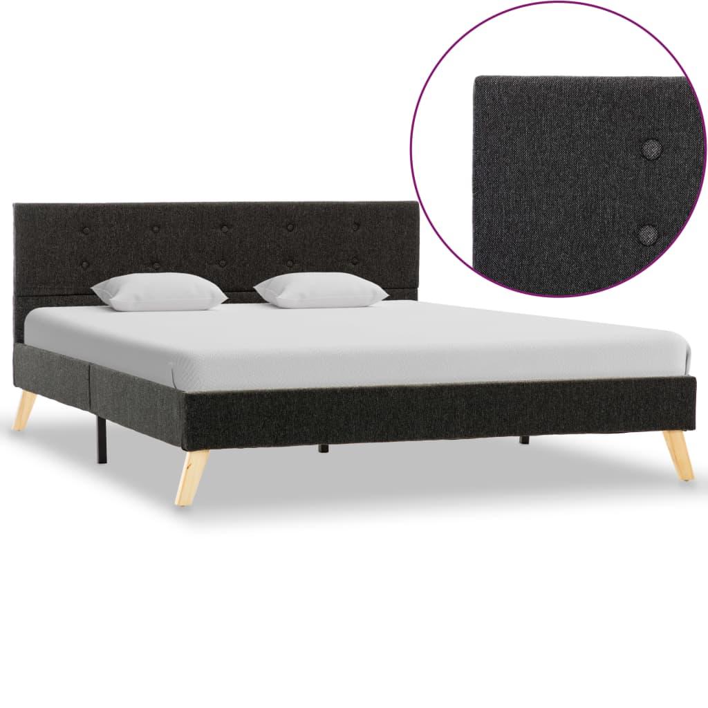 vidaXL Cadru de pat, gri închis, 140 x 200 cm, material textil poza 2021 vidaXL