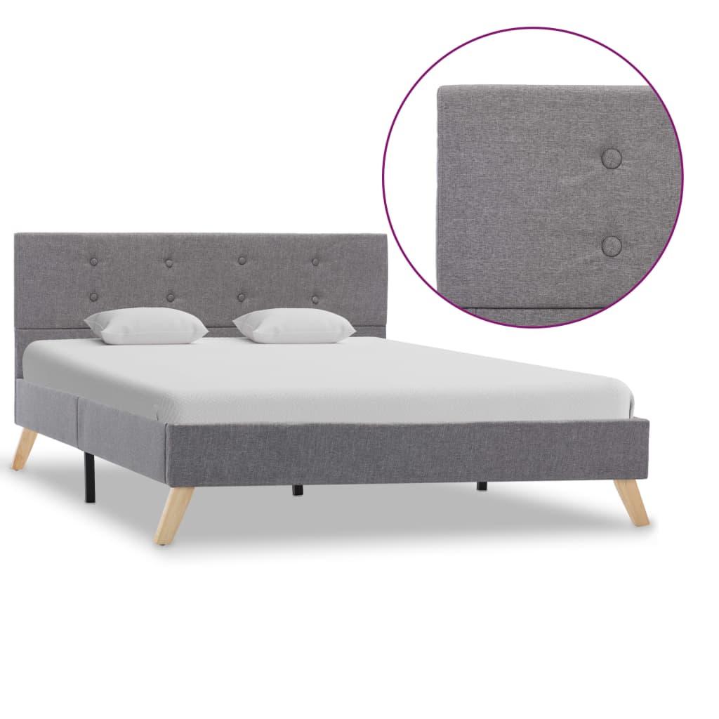 vidaXL Cadru de pat, gri deschis, 120 x 200 cm, material textil poza vidaxl.ro