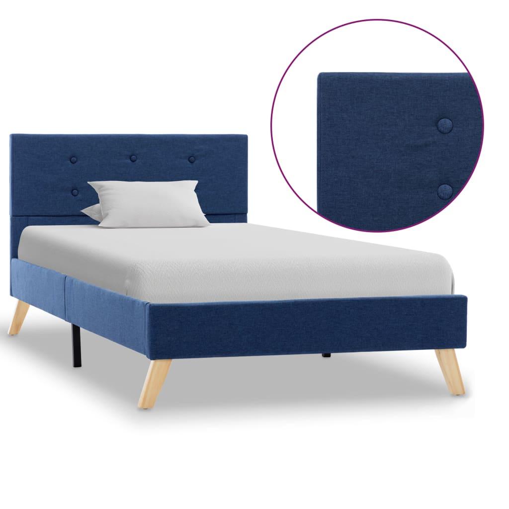 vidaXL Πλαίσιο Κρεβατιού Μπλε 90 x 200 εκ. Υφασμάτινο